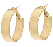 As Is Vicenza Gold Polished Round Omega Back Hoop Earrings 14K - J330781