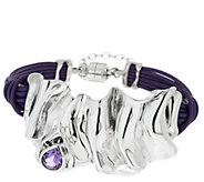 As Is Hagit Sterling Silver Folds Leather 0.9ct Gemstone Bracelet - J331181