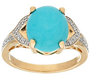 As Is Sleeping Beauty Turquoise and Diamond Ring 14K Gold - J331781