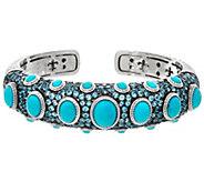 Judith Ripka Sterling Turquoise & Blue Topaz Cuff Bracelet - J334281