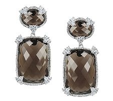 Judith Ripka Sterling Smoky Quartz & DiamoniqueDrop Earrings