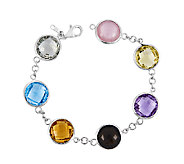 Sterling 43.40 cttw Multi-Gem Round Station 8-1/2 Bracelet - J336781