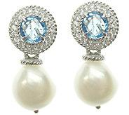 Judith Ripka Sterling Light Blue Topaz & PearlDrop Earrings - J337481