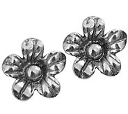 Or Paz Sterling Flower Design Stud Earrings - J337581