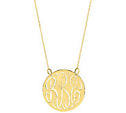 Sterling & Gold Plated 7/8 Cutout Monogram Necklace - J337781