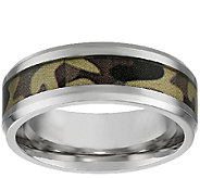 Stainless Steel Mens Band Ring w/ Camouflage Design - J337881