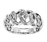 Sterling 1/5cttw Diamond Basket Weave Design Ring - J338881