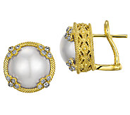 Judith Ripka 14K Clad Cultured Mabe Pearl StudEarrings - J340081