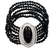 Judith Ripka Sterling 3-Strand Black Onyx Bead7-3/4 Bracelet - J340881