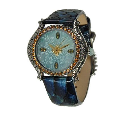 Barbara Bixby Carved Mother of Pearl & Citrin e Leather Watch