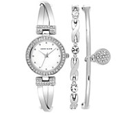 Anne Klein Womens Silvertone Bangle Watch andBracelet Set - J342981