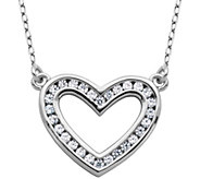 Diamonique 4/10 cttw Open Heart 18 Necklace, Sterling - J343781