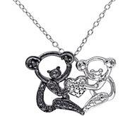 Black Diamond Accent Koala Bear Pendant w/ Chain, Sterling - J343881
