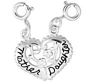 Sterling Mother, Daughter Split Heart Charm - J344181