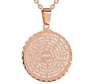 Stainless Steel Round Our Father Prayer Pendant - J344481