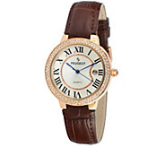 Peugeot Womens Rosetone Brown Leather Watch - J344581