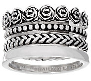 Sterling Silver 4 Row Textured and Polished Band Ring by Silver Style - J346681