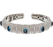 Judith Ripka Sterling Silver London Blue Topaz Cabochon Cuff Bracelet - J347681