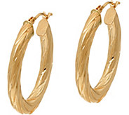 14K Gold Oval Twist Hoop Earrings - J348281