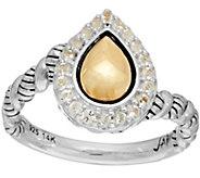 JAI Sterling Silver & 14K Gold Lotus Petal Ring w/ Pave Gemstones - J348481