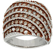 Pave Colored Diamond Wide Ring, Sterling, 1.50 cttw by Affinity - J349981
