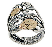 Or Paz Sterling/14K Leaf Ring - J351181
