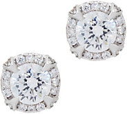 Diamonique Round Halo Stud Earrings, Sterling - J351281