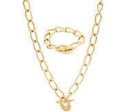 BROOKE SHIELDS Timeless Bold Link Toggle Necklace & Bracelet Set - J354681
