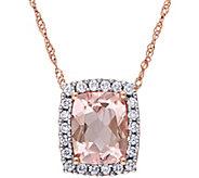 14K 1.75 ct Morganite & 1/5 cttw Diamond Pendant with Chain - J375181