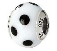 Prerogatives Sterling White/Blk Dot Italian Murano Glass Bead - J111582