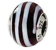 Prerogatives Sterling Brown/White Italian Murano Glass Bead - J111782