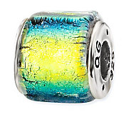 Prerogatives Sterling Yellow & Blue Dichroic Glass Square Bead - J113382