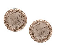 Round Diamond Cut & Crystal Quartz Stud Earrings 14K Gold - J264882