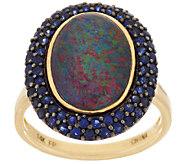 Australian Opal Triplet & Blue Sapphire Ring 14K Gold 0.85 ct tw - J274082