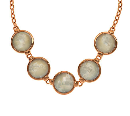 Honora Reversible Mother-of-Pearl Adjustable Bronze Necklace
