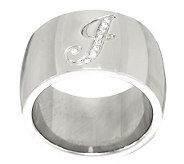 Stainless Steel Pave Initial Band Ring - J279082