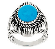 American West Sterling Sleeping Beauty Turquoise Concha Ring - J283082