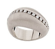 Italian Silver Sterling Wave Brushed Satin Diamonique Domed Ring - J284182