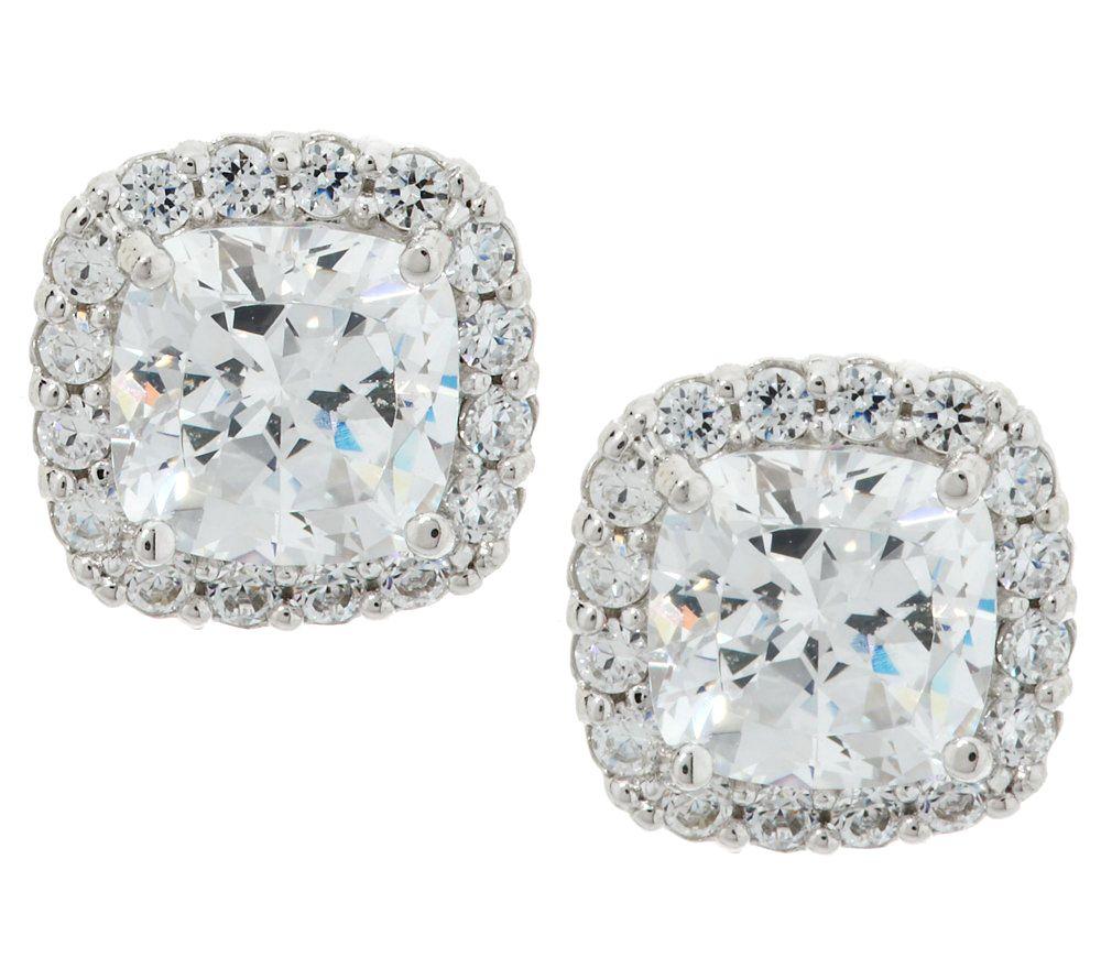 epiphany diamonique 100 facet halo stud earrings page 1