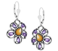Carolyn Pollack Sterling Gemstone Flower Drop Earrings