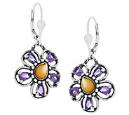 Carolyn Pollack Sterling Gemstone Flower Drop Earrings - J289982