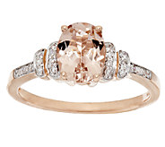 1.00 ct Oval Morganite and 1/10 ct tw Diamond Ring, 14K Gold - J291582