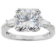 Diamonique 3.85 cttw Flanders Cut Ring, Platinum Clad - J291882