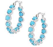 Sleeping Beauty Turquoise Sterling Inside Out Hoop Earrings - J292482