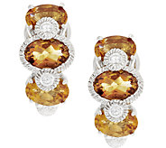 Judith Ripka Sterling & Diamonique Citrine Huggie Hoops - J293282