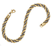 14K Gold 6-3/4 Two-Tone Twisted Wrapped Rope Bracelet, 5.0g - J293982