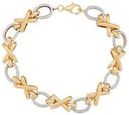 As Is 14K Gold 6-3/4 Status Link XO Design Bracelet, 5.7g - J294682