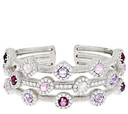 Judith Ripka Sterling 5.25 ct tw Shades of Pink Gemstone Cuff - J295482