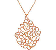 Bronze Floral Crystal Pendant w/18 Chain by Bronzo Italia - J296682