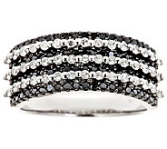 Black & White Multi-Row Diamond Ring, Sterling1ct by Affinity - J310182